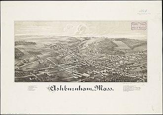 Ashburnham, Massachusetts - Print of Ashburnham from 1886 by L.R. Burleigh with list of landmarks