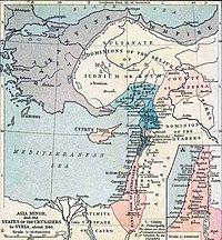 Hand colored map of the Near East. At the top is the بیزانس ایمپیراتورلوغو, which encircles the Seljuq Turks from north, west and south. Below those two groups are the کیلیکی ائرمنی چارلیغی on the west and the County of Edessa on the east. Stretching along the coast below them are the انطاکیه دوکلیغی, the طرابلوس کونتلوغو and the Latin Kingdom of Jerusalem, chief of the Catholic Crusader states. To the east of the coast is بؤری امیرلیگی and the Dominion of the Atabeks. At the bottom of the map is the Caliphate of Cairo.