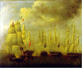 Action of 25 January 1797 - Battle between San Francisco de Asís and three British frigates and a corvette. Oil on canvas. Naval Museum of Madrid.