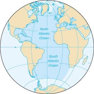 Map of the Atlantic Ocean