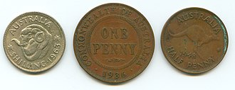 Commonwealth Star - Image: Australian pre decimal coins penny shilling