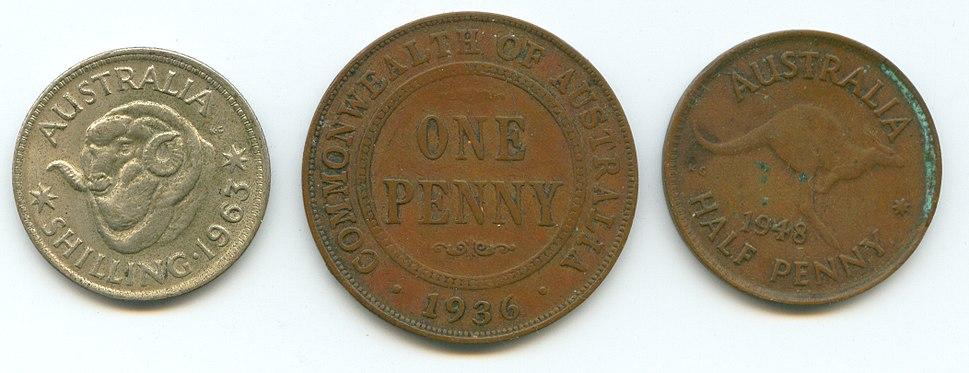 Australian pre decimal coins penny shilling