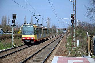 Baden main line - AVG car no. 821 on the Baden main line at Bruchsal in 2005