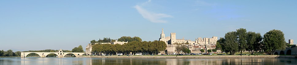 """View over the Rhône looking northeast, with the Pont Saint-Bénézet or """"Pont d'Avignon"""" at left"""