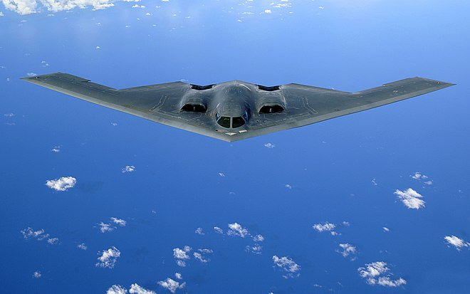 A U.S. Air Force B-2 Spirit in flight over the Pacific Ocean B-2 Spirit original.jpg