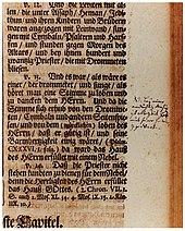 "A handwritten note by Bach in his copy of the Calov Bible. The note next to 2Chronicles 5:13 reads: ""NB Bey einer andächtigen Musiq ist allezeit Gott mit seiner Gnaden Gegenwart"" (N(ota) B(ene) In a music of worship God is always present with his grace). (Source: Wikimedia)"