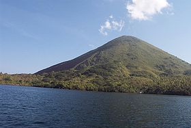 The active volcano Gunung Api in the Banda Islands