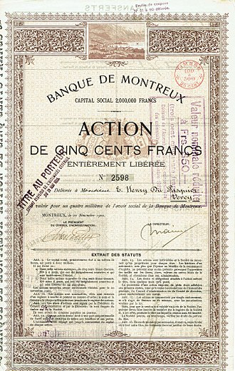 S.A. (corporation) - Share of the Banque de Montreux, issued 20 November 1900. Société anonyme were common in Switzerland at this time