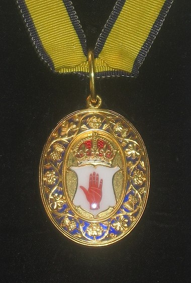 Neck decoration for baronets of the United Kingdom, depicting the Red Hand of Ulster BaronetUK.jpg
