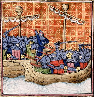 John Hastings, 2nd Earl of Pembroke - The Battle of La Rochelle as depicted in a miniature some time after 1380; note the English ships are deliberately illustrated as being lower than the Castilian.
