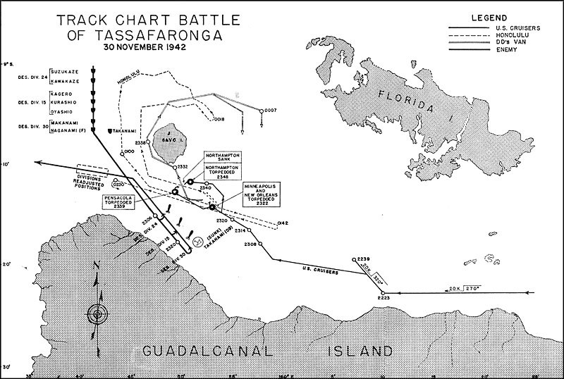 Battle of tassafaronga map