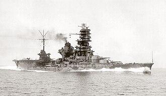Ise-class battleship - Hyūga running her sea trials on 23 August 1943