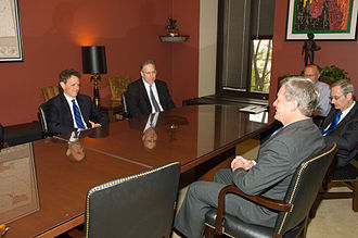 Max Baucus - Baucus, foreground, meets with Secretary of Treasury nominee Timothy Geithner, left