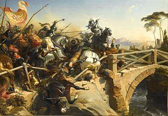 Pierre Terrail, seigneur de Bayard - Bayard at the Battle of Garigliano (1503), by Philippoteaux