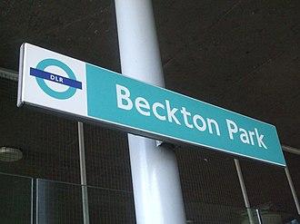 Beckton Park DLR station - Image: Beckton Park stn signage