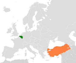 Map indicating locations of Belgium and Turkey