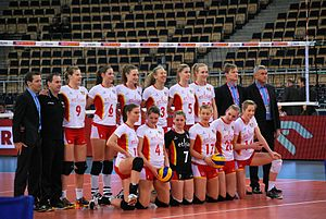 Belgium women's national volleyball team - Image: Belgium volleyball women national team 01 FIVB World Championship European Qualification Women Łódź January 2014