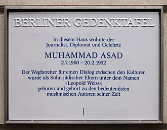 Muhammad Asad - The Berliner Gedenktafel (Berlin Memorial Plaque) for Muhammad Asad.