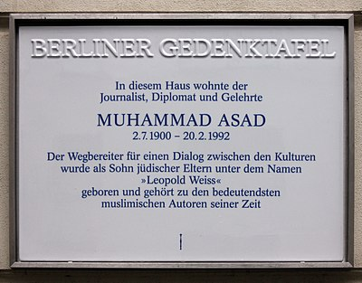 The Berliner Gedenktafel (Berlin Memorial Plaque) for Muhammad Asad. Berliner Gedenktafel Hannoversche Str 1 (Mitte) Muhammad Asad.jpg