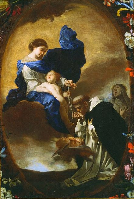 The vision of St. Dominic receiving the Rosary from the Virgin by Bernardo Cavallino Bernardo Cavallino - La Visione di San Domenico (anni 1640).jpg