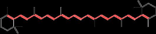 圖1、紅色的部分就是共軛雙鍵,也就是單雙鍵交替出現。