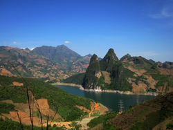 View from the Moc Chau Plateau to the Hòa Bình Dam - North Vietnam