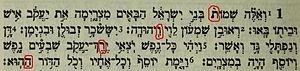 Bible code - Image: Bible code in Exodus 1,1 6