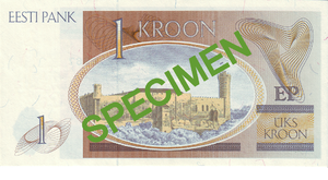1 kroon - Reverse of the 1 krooni bill