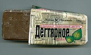 Дегтярное мыло – целебное средство для здоровья и красоты. 300px-Birch_tar_soap