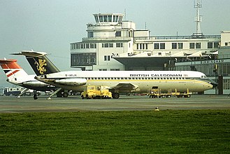 Birmingham Airport - British Airways and British Caledonian aircraft at the old terminal in 1978