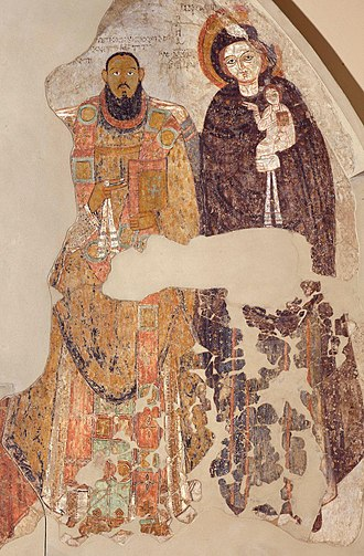Coptic Orthodox Church of Alexandria - Makurian wall painting depicting a Nubian bishop and Virgin Mary (11th century)