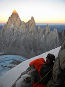 Bivouac on Cerro Torre with Fitz Roy in the background.JPG