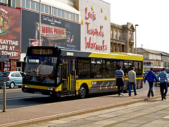 A Blackpool Transport bus en route to Fleetwood Blackpool Transport bus 221 (T884 RBR), 17 April 2009.jpg