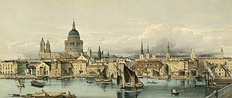 St Paul's Cathedral - Boats on the River Thames and St Paul's Cathedral, 1850s