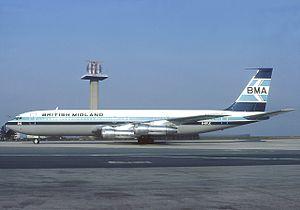 British Midland International - British Midland Airways Boeing 707-338C G-BFLE at Paris Charles de Gaulle in 1982.