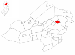 Boonton highlighted in Morris County. Inset map: Morris County highlighted in the State of New Jersey.