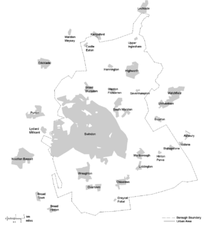 Borough of Swindon - Map of the Borough of Swindon and major settlements