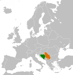 Map indicating locations of Bosnia and Herzegovina and Serbia