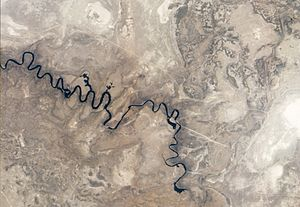 Central District (Botswana) - Aerial view of Boteti river