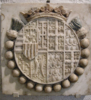 Jeanne de Laval - Combined Coat of arms of Jeanne and her husband René of Naples. Marble with traces of polychromy, from the base of the Bearing of the Cross altarpiece in Saint-Didier at Avignon.