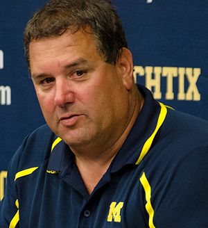 Brady Hoke - Hoke at a postgame press conference in 2013