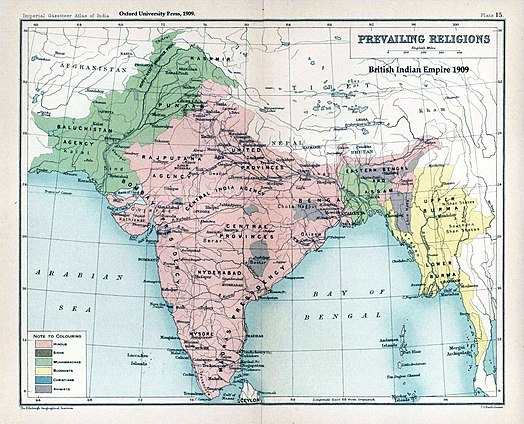 The prevailing religions of the British Indian Empire based on the Census of India, 1901 Brit IndianEmpireReligions3.jpg