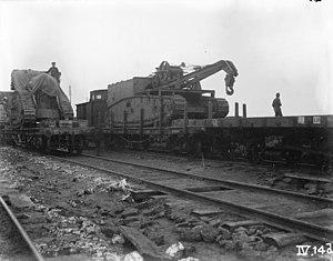 Gun Carrier Mark I - Image: British Salvage Tank November 1917 IWM Q 46934