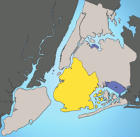 Location of Brooklyn shown in yellow.