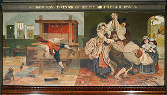 Technological unemployment - John Kay inventor of the Fly Shuttle AD 1753, by Ford Madox Brown, depicting the inventor John Kay kissing his wife goodbye as men carry him away from his home to escape a mob angry about his labour-saving mechanical loom. Compensation effects were not widely understood at this time.