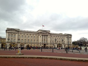 Flags at Buckingham Palace - Union Flag flies at half-mast over Buckingham Palace after the death of Baroness Thatcher.