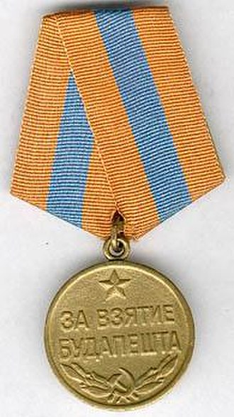 Siege of Budapest - The Budapest Medal was awarded to all Soviet service personnel who took part in the battle