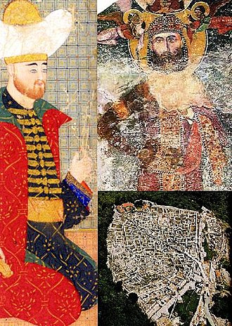 Bulgarian–Ottoman wars - Clockwise from right: Emperor Ivan Alexander, the remains of the Shumen fortress, Sultan Bayazid I