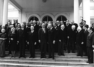 Joseph Bech - Gathering for the funeral of Konrad Adenauer, Bonn, 1967. Joseph Bech is fourth from right, looking downwards with walking stick.