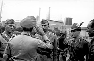 12th Infantry Division Sassari - Officials of Infantry Division Sassari on the left and an Alpine soldier on the right in 1943, escorted by German paratroopers
